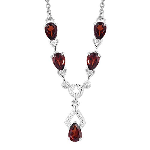 "925 Sterling Silver Pear Garnet Necklace for Women 18"" Cttw 2.3 Jewelry Gift from Shop LC Delivering Joy"