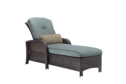 Hanover Outdoor Strathmere Chaise Lounge Chair, Ocean Blue (Chaise Wicker Lounge Resin)
