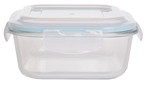 27oz. Glass Food Storage Container - Oven, Microwave, Freezer and Dishwasher Safe - Airtight and Leak Proof Snap Lock Plastic Lid - BPA Free - by Home Basics