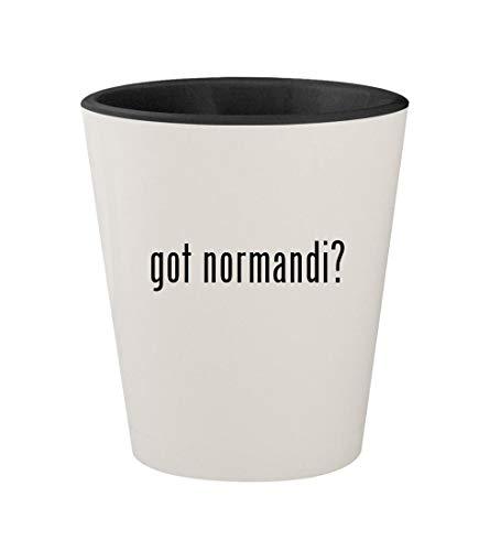 got normandi? - Ceramic White Outer & Black Inner 1.5oz Shot Glass (Best Weapons In Mass Effect 1)