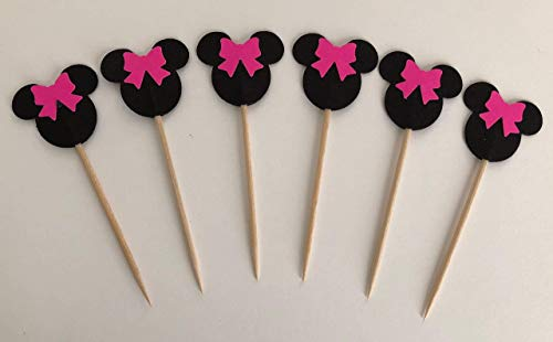 12 Minnie Mouse Pink Bow Double Sided Food