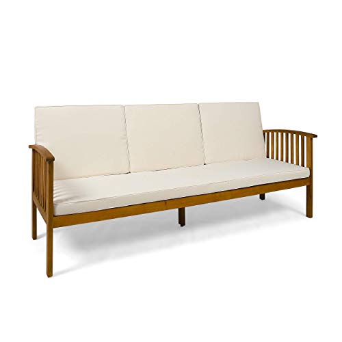 Christopher Knight Home 307791 Breenda Outdoor Acacia Wood Sofa with Cushions, Teak and Cream, Finish (Renewed)