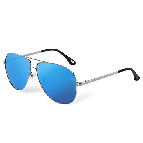 BLUEKIKI YEUX Classic Aviator Polarized Sunglasses Men Metal Frame UV400 Protection(Ice - Sunglasses Best For Face Long Thin