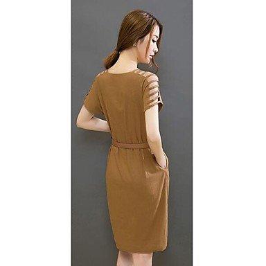 PU&PU Robe Aux femmes Gaine Simple,Couleur Pleine Col Arrondi Au dessus du genou Lin , black , s