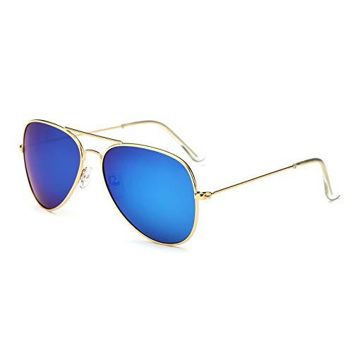 (YOSHYA Sunglasses for Men Women Aviator Polarized Metal Mirror UV 400 Lens Protection (Gold Blue))
