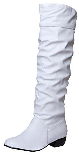 PU Weichleder flache Ferse Schneestiefel Weiß