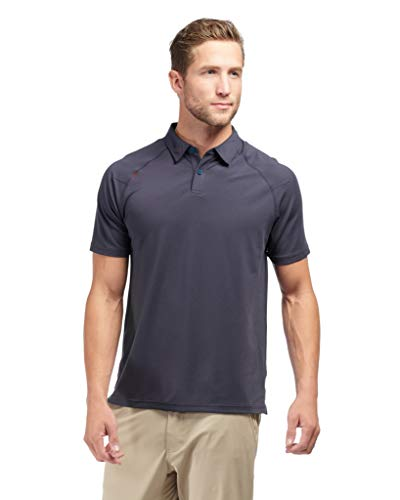 Rhone Delta Pique Polo Performance Collar Navy Large | Polo Shirts for Men With Lightweight Pique Mesh Fabric ()
