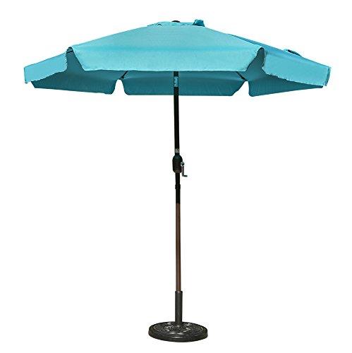 Sundale Outdoor 7.5 Feet Aluminum Beach Drape Umbrella Table Market Umbrella with Crank and Push Button Tilt for Patio, Garden, Deck, Backyard, 6 Fiberglass Ribs, 100% Polyester Canopy (Lake Blue)