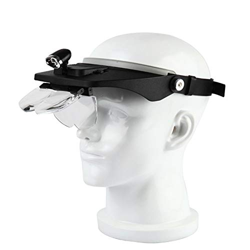 Koimg Headband Magnifier with 2led Light, Head-Mounted Handsfree Reading Magnifying Glasses, Jeweler,Watch Loupe 1.2X,1.8X,2.5X,3.5X 4 Replaceable Lenses