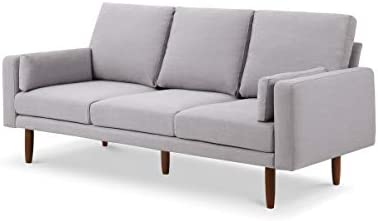 Capsule Pasadena Mid Century Modern 78 Sofa with USB Ports, Light Grey Linen