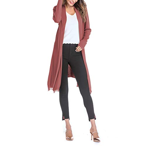 Plus Grandes Size Rouge Mujeres Devant Manteau Zffde Tailles Cardigan Tamaño taille Pull Tassels Invierno L Manteaux RqxzT0Aw