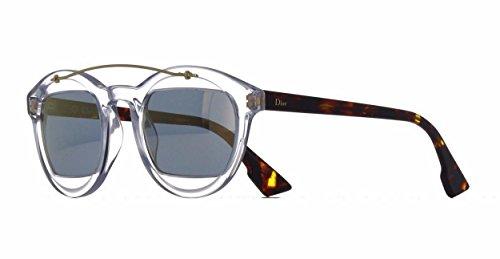 DIOR MANIA Ladies 1 Crystal Dark Havana/Gold LWP/JO Round Sunglasses - Steals Deals And Sunglasses