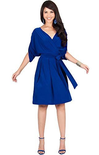 KOH KOH Womens V-Neck Short Sleeve Flowy Work Knee Length Day Midi Dress