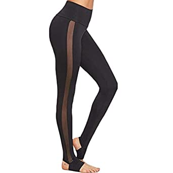 d74f052a6f979 Xuba Ladies Mesh Pants See Through Leggings Casual Womens Black Wide  Waistband Mesh Insert Stirrup Leggings: Amazon.in: Clothing & Accessories