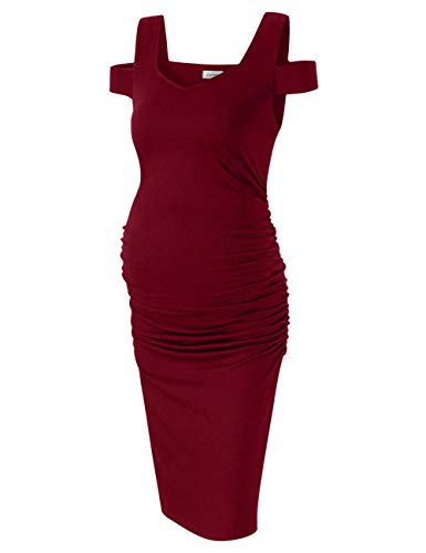 Coolmee Maternity Dress Women's Casual V Neck Sleeveless Solid Color Ruched Knee-Length Maternity Dresses Burgundy S