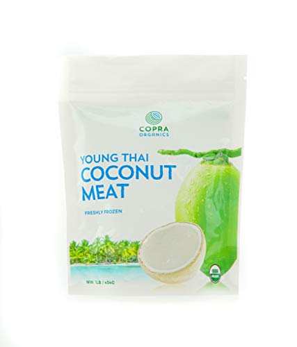 Copra Frozen Young Thai Coconut Meat: 10 x 1lb Case