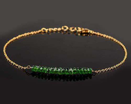 Beaded Bracelet Gemstone Chrome Diopside | Green Chrome Diopside Jewelry | Boho Bracelet | Bridesmaid Bracelet | Birthday Birthstone | 14K Gold Fill Chain | Gift for Mom