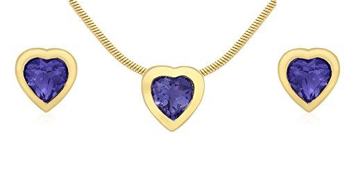 Carissima Gold - 1.45.1593 - Parure collier et boucles d'oreilles Femme - Coeur - Or jaune (9 Cts) 4.21 Gr - Améthyste