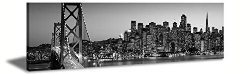 JiazuGo-Wall Art City Canvas Prints Decor-Black and White Panoramic Cities-San Francisco Bay Bridge Canvas Wall Art-Modern Wall Decor/Home Decoration Framed,Ready to Hang 14