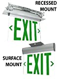 Adjustable Edge Lit Exit Sign with Green Letters