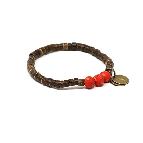 Stretch Shell Coconut Bracelet (Handmade in Haiti Candy Red Coconut Pipeline Bracelet Made with Real Coconut Shell Pieces Clean Water for Haitians Fashion for A Cause)