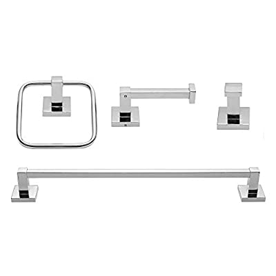 Globe Electric Finn 4-Piece Bathroom Hardware Accessory Kit, Polished Chrome, Towel Bar, Towel Ring, Robe Hook, Toilet Paper Holder 51368