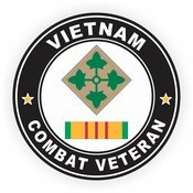 MilitaryBest 4th Infantry Division Vietnam Combat Veteran with Ribbon Decal ()