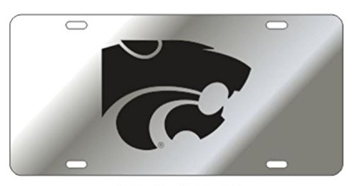 Kansas State Laser Cut Inlaid Acrylic Mirrored Plate Silver w/Black Cat ()