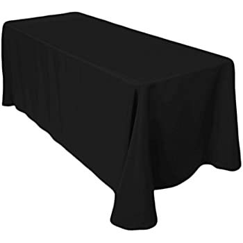 Gee Di Moda Rectangle Tablecloth   90 X 132 Inch   Black Rectangular Table  Cloth For 6 Foot Table In Washable Polyester   Great For Buffet Table,  Parties, ...