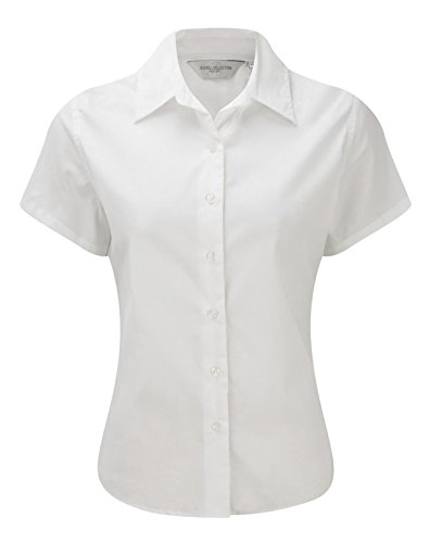 Russell Collection Ladies Short Sleeve Classic Twill Shirt XL/16 White