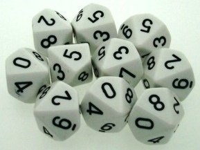 Chessex Dice Sets: Opaque White with Black - Ten Sided Die d10 Set (10) (Side Dice 10)
