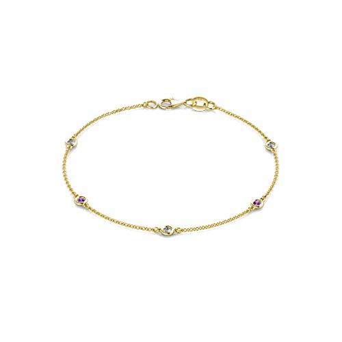 TriJewels Amethyst and Lab Grown Diamond 2.4mm Womens Station Bracelet 0.22 ctw 14K Yellow Gold