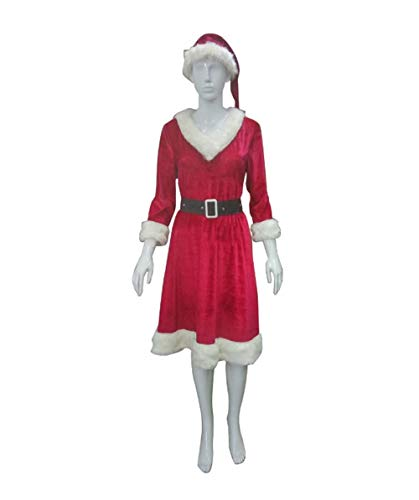 Women's Classic Mrs. Claus Costume, Red -