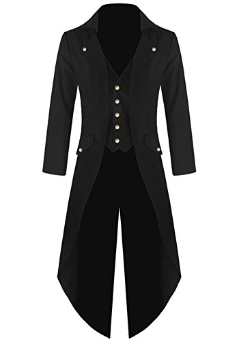 Ruanyu Men's Steampunk Vintage Tailcoat Jacket Gothic Victorian Frock Black Steampunk Coat Uniform Costume (Medium, Black) -