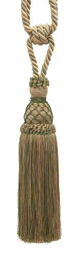 (Elegant Olive Green, Champagne Curtain & Drapery Tassel Tieback / 10