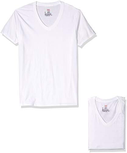 Hanes Ultimate Men's 3-Pack V-Neck Tee, White, Medium