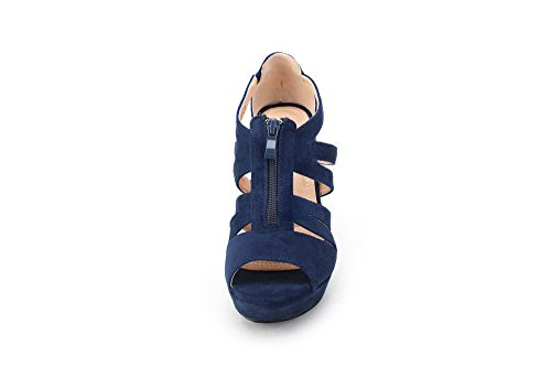 5 Open Lady Lisa Navy Zippered for Toe Platform Heeled Wedges Sandals Strappy Women Mila Shoes waE4xn4