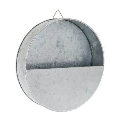 "Galvanize Your Home Galvanized Round Metal Wall Planter - 8 1/2"" with mounting Hardware: Kitchen & Dining"