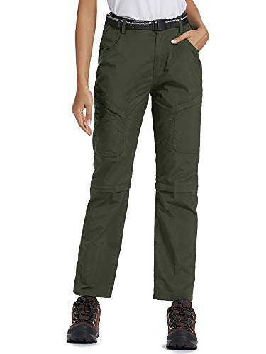 Women's Outdoor Anytime Quick Dry Cargo Pants Convertible Hiking Camping Fishing Zip Off Stretch Trousers 6063,Army Green 26 (Convertible Cargo Pants Women)