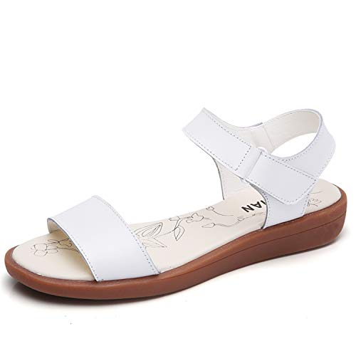 SSLOPY& Women Classic Sandals Shoes Genuine Leather Ankle Strap Sandals Ladies Casual Shoes Gladiator Female Footwears Summer White KLDD.288 40