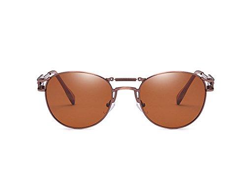 polarizadas punkyes retro vintage no y personalidad Marrón de Gafas Gafas Bronce masculinas de sol femeninas wYyXqccEI