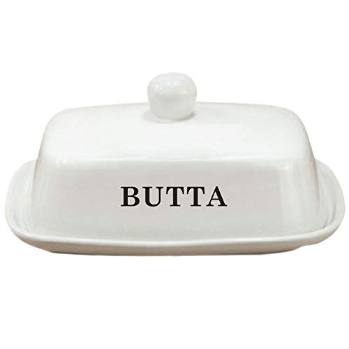 Butter Dish With Lid | White Ceramic | LARGE - Fits Block of Butter or 2 Sticks
