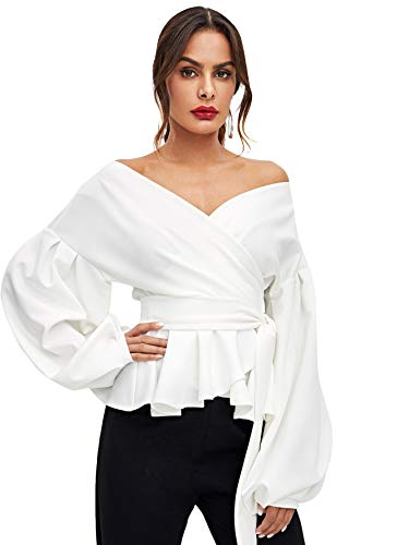 SheIn Women's Long Sleeve V Neck Ruffle Blouse Off Shoulder Tie Waist Wrap Tops X-Large White