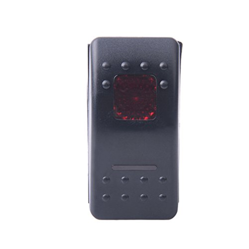 CJRSLRB Momentary Laser Green/Blue/Red/Orange Rocker Switch REAR UGHIS 20A 12V (On)-Off-(On) LED Light (Red)