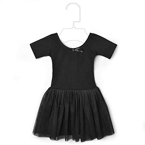 (STELLE Girls Toddlers Short Sleeve Tutu Ballet Dress Leotard for Dance (Black,)