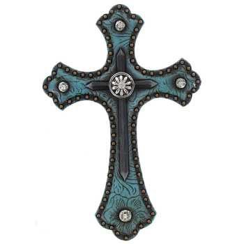 Resin Blue Cross - Mardel Western Wall Cross, Turquoise Resin, 8 x 5 inches