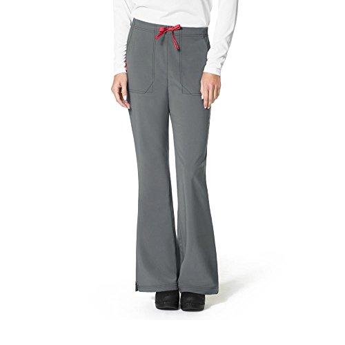 Ladies Flat Front Scrub Pants (Carhartt Scrubs C52210 Women's Force Cross-Flex Flat Front Flare Scrub - X-Small Regular - Pewter)
