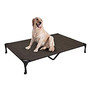 Veehoo Cooling Elevated Dog Bed, Portable Raised Pet Cot with Washable & Breathable Mesh, No-Slip Rubber Feet for Indoor & Outdoor Use, X Large, Brown