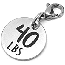 40 lbs Weight Loss Jewelry Charm - Motivational and Inspirational Jewelry for Fitness and Workout Motivation for Pounds Lost - Stainless Steel Engraved Charm and Clasp - Tarnish Free Charms