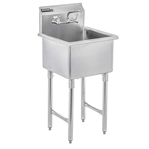 "DuraSteel Stainless Steel Prep & Utility Sink - 1 Compartment Commercial Kitchen Sink - NSF Certified - 18"" x 18"" Inner Tub Size with 8"" Swivel Spout Faucet (Kitchen, Laundry, Backyard, Garages)"